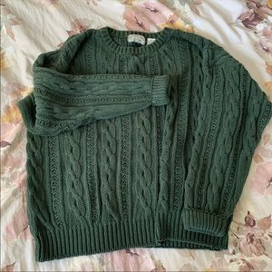 Vintage Green Cotton Cable Knit Sweater